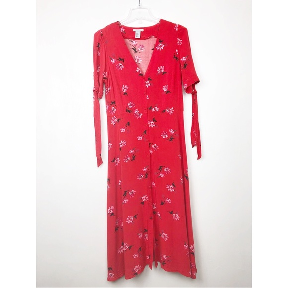 H&M Dresses & Skirts - H&M Red Short Sleeved Maxi Button Floral Dress
